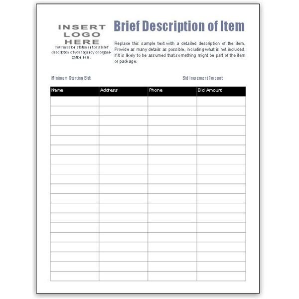 Free Bid Sheet Template Free Bid Sheet Template Collection Downloads for Ms Publisher