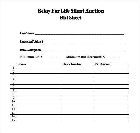 Free Bid Sheet Template Sample Silent Auction Bid Sheet – 6 Example format