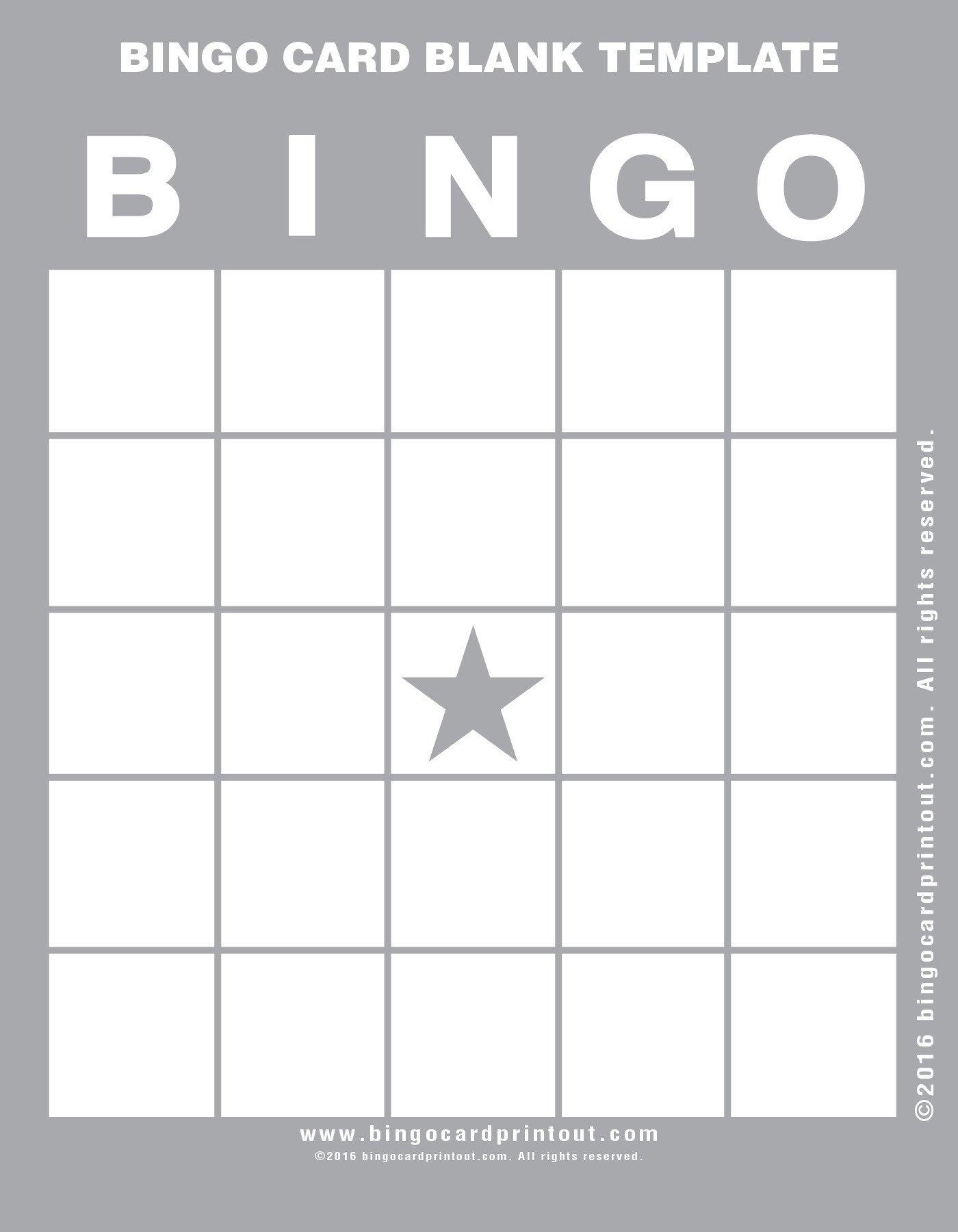 Free Bingo Card Template Bingo Card Blank Template Bingocardprintout