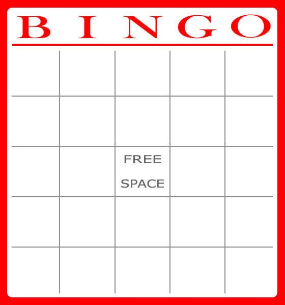 Free Bingo Card Template Free and Printable Baby Shower Bingo Card