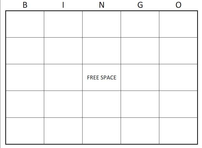 Free Bingo Card Template Printable Blank Bingo Cards