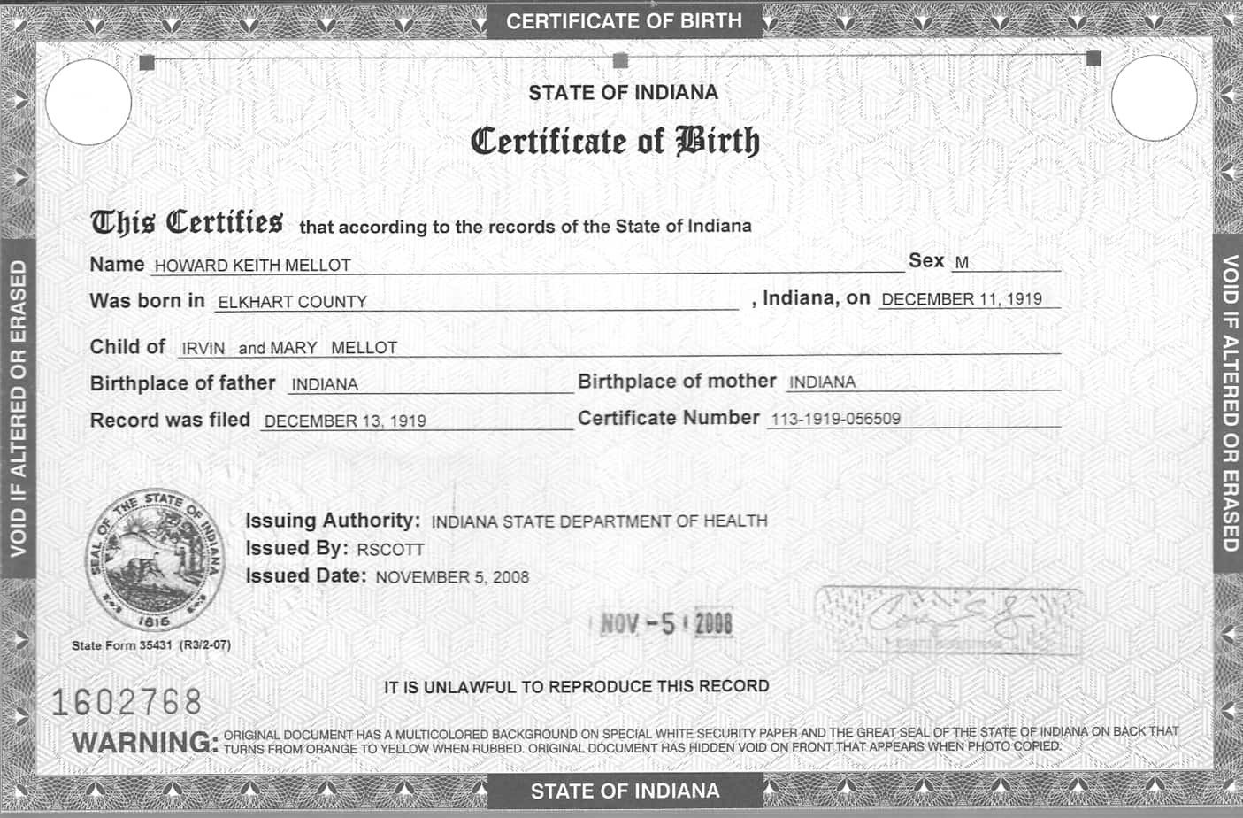 Free Birth Certificate Template 5 Birth Certificate Templates Excel Pdf formats