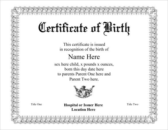 Free Birth Certificate Template Birth Certificate Template 38 Word Pdf Psd Ai