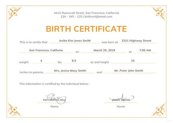 Free Birth Certificate Template Birth Certificate Template 44 Free Word Pdf Psd