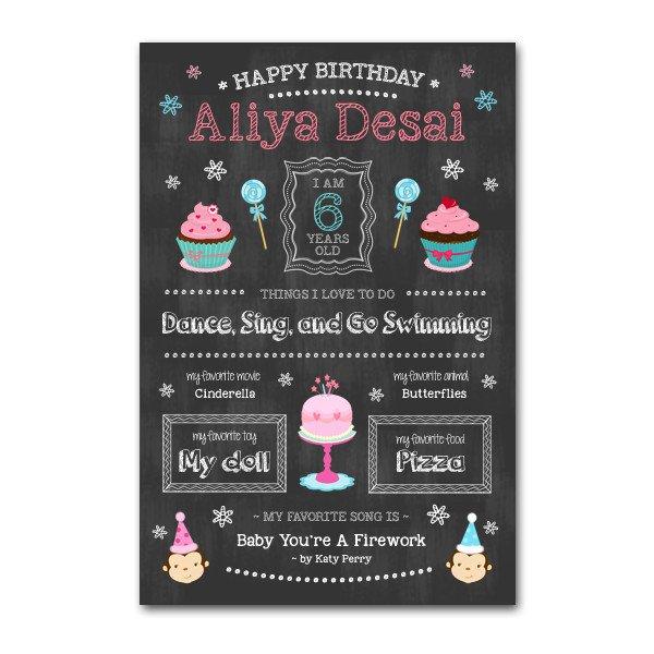 Free Birthday Chalkboard Template Birthday Girl Chalkboard Template