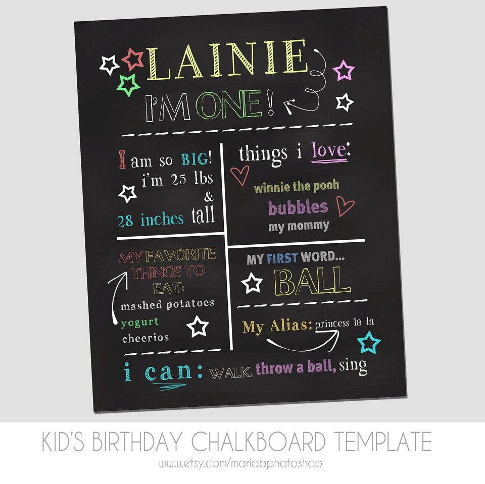 Free Birthday Chalkboard Template Child S First Birthday Chalkboard Template Marketing