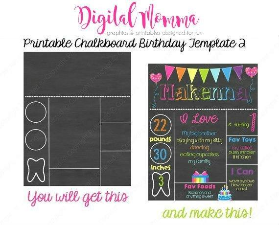 Free Birthday Chalkboard Template Printable Chalkboard Birthday Template Personal & Mercial
