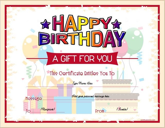 Free Birthday Gift Certificate Template Birthday Gift Certificate Sample Templates for Word