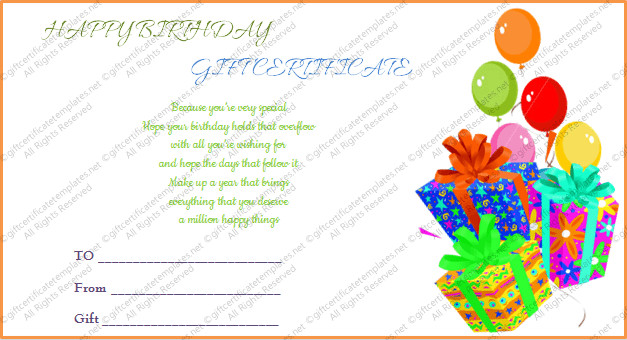 Free Birthday Gift Certificate Template Birthday Gift Certificate Template Free