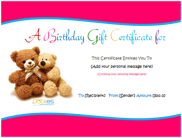 Free Birthday Gift Certificate Template Birthday Gift Certificate Templates for Girls and Boys