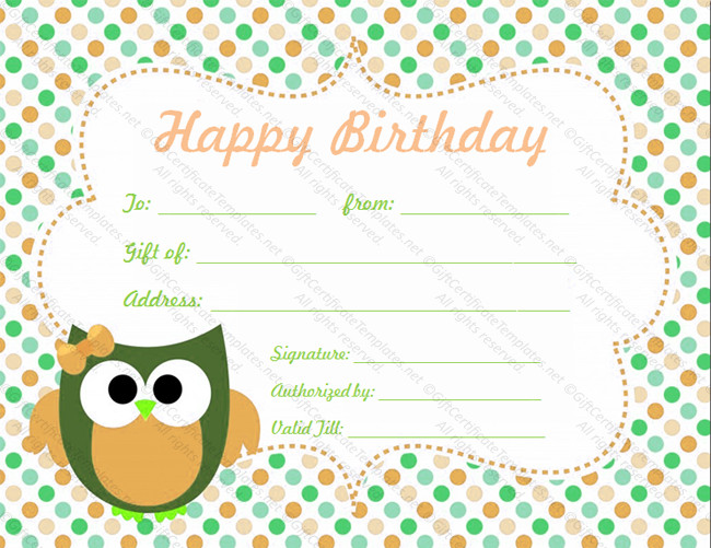 Free Birthday Gift Certificate Template Birthday T Certificate Template