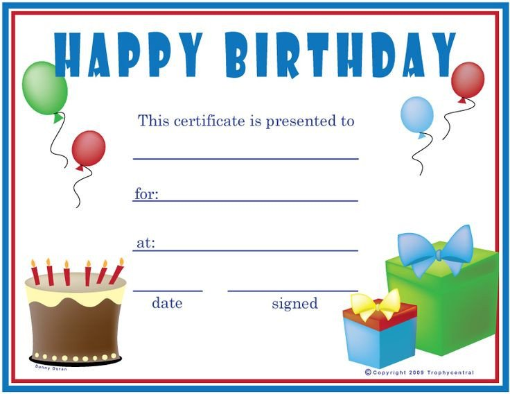 Free Birthday Gift Certificate Template Free Birthday Boy Certificates Certificate Free
