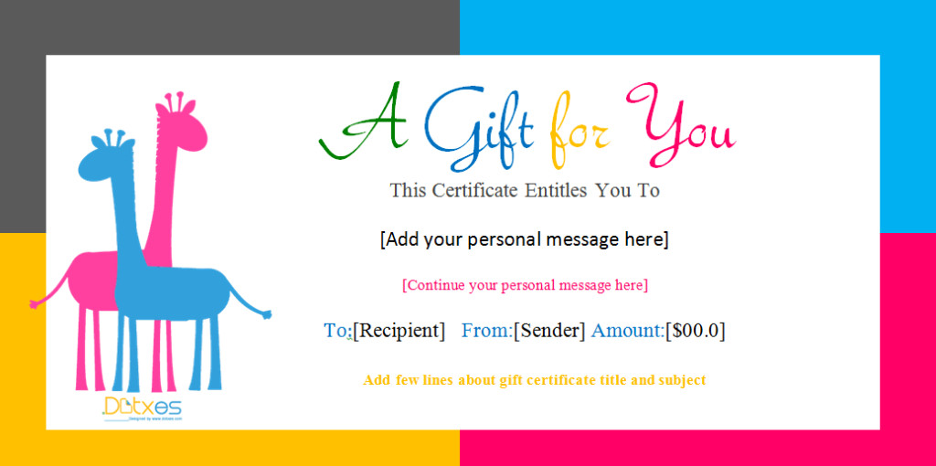 Free Birthday Gift Certificate Template Gift Certificate Template