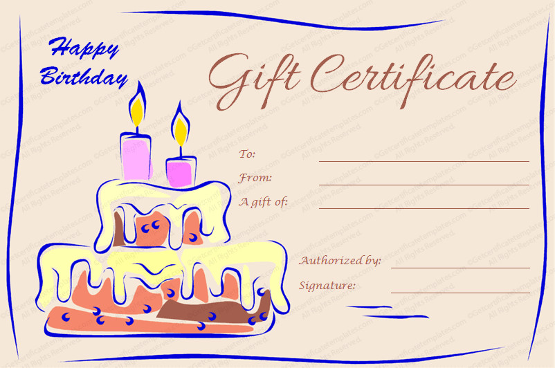 Free Birthday Gift Certificate Template Gift Certificate Templates