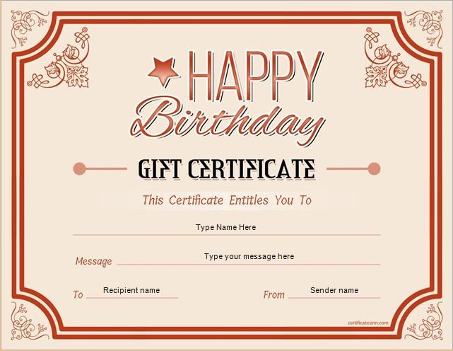 Free Birthday Gift Certificate Template Pin by Alizbath Adam On Certificates