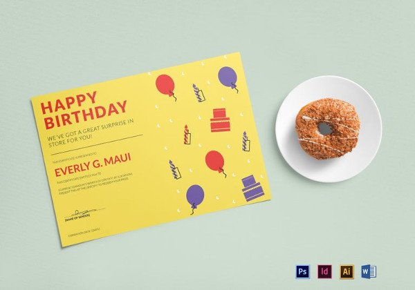 Free Birthday Gift Certificate Template Printable Gift Certificate Templates