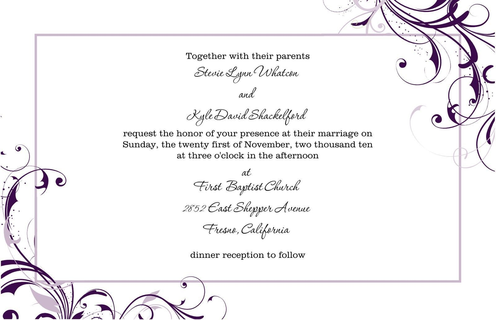 Free Blank Invitation Templates Free Blank Wedding Invitation Templates for Microsoft Word