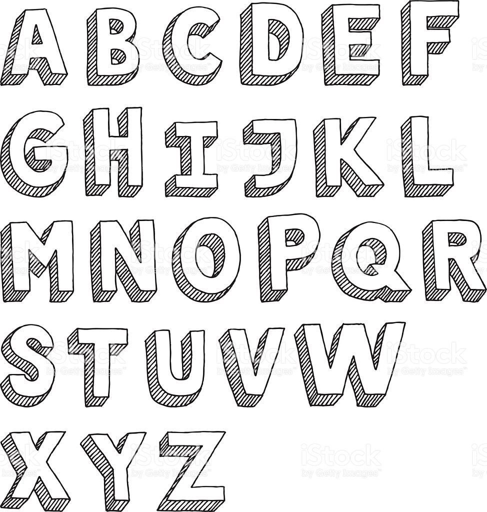 Free Block Letter Font Hand Drawn Vector Drawing Of An Sans Serif Alphabet