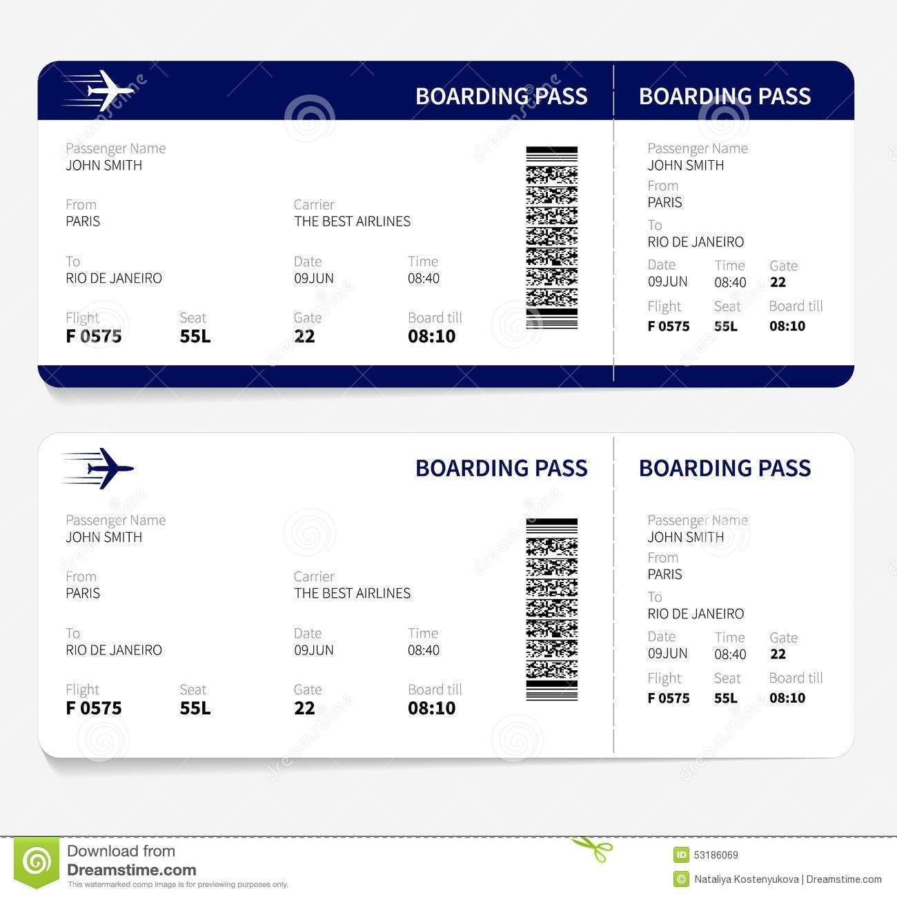 Free Boarding Pass Template Airline Ticket Template Free Sample Customer Service