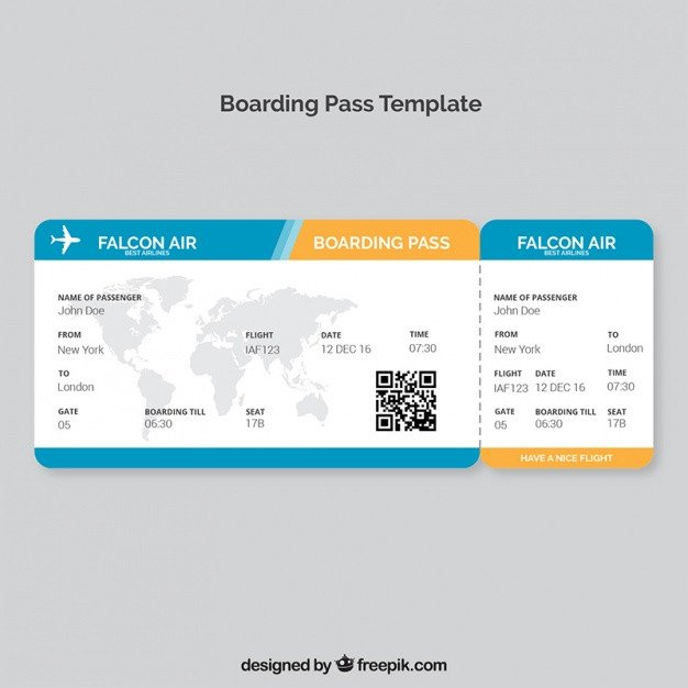 Free Boarding Pass Template Boarding Pass Template with Map and Color Details Vector