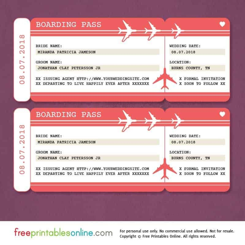 Free Boarding Pass Template Free Printable Boarding Pass Save the Date Template