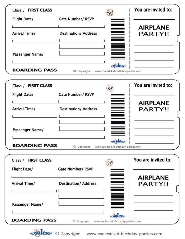 Free Boarding Pass Template Printable Airplane Boarding Pass Invitations Coolest