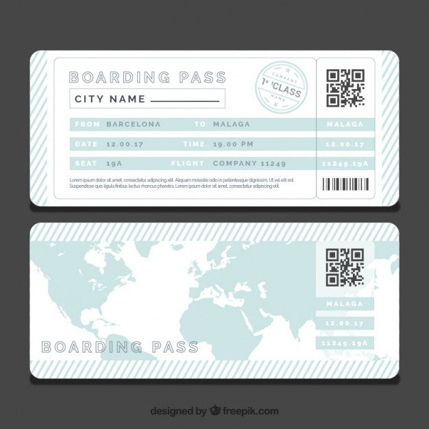 Free Boarding Pass Template Striped Boarding Pass Template with Blue World Map Vector