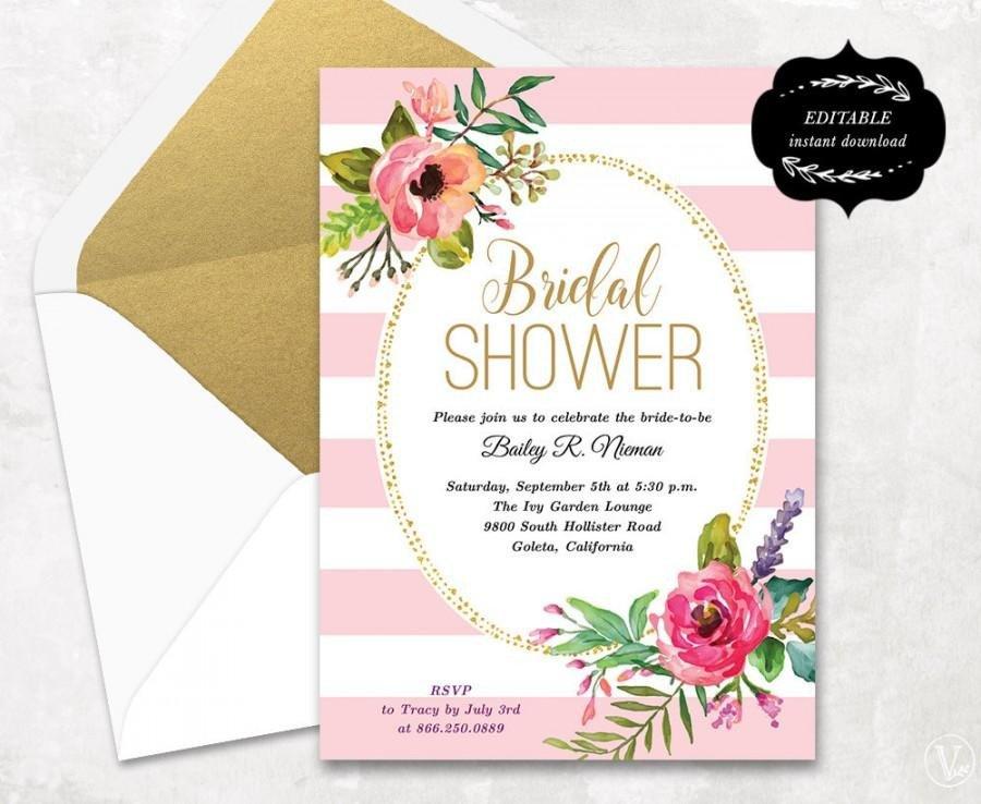 Free Bridal Shower Invitation Templates Blush Pink Floral Bridal Shower Invitation Template