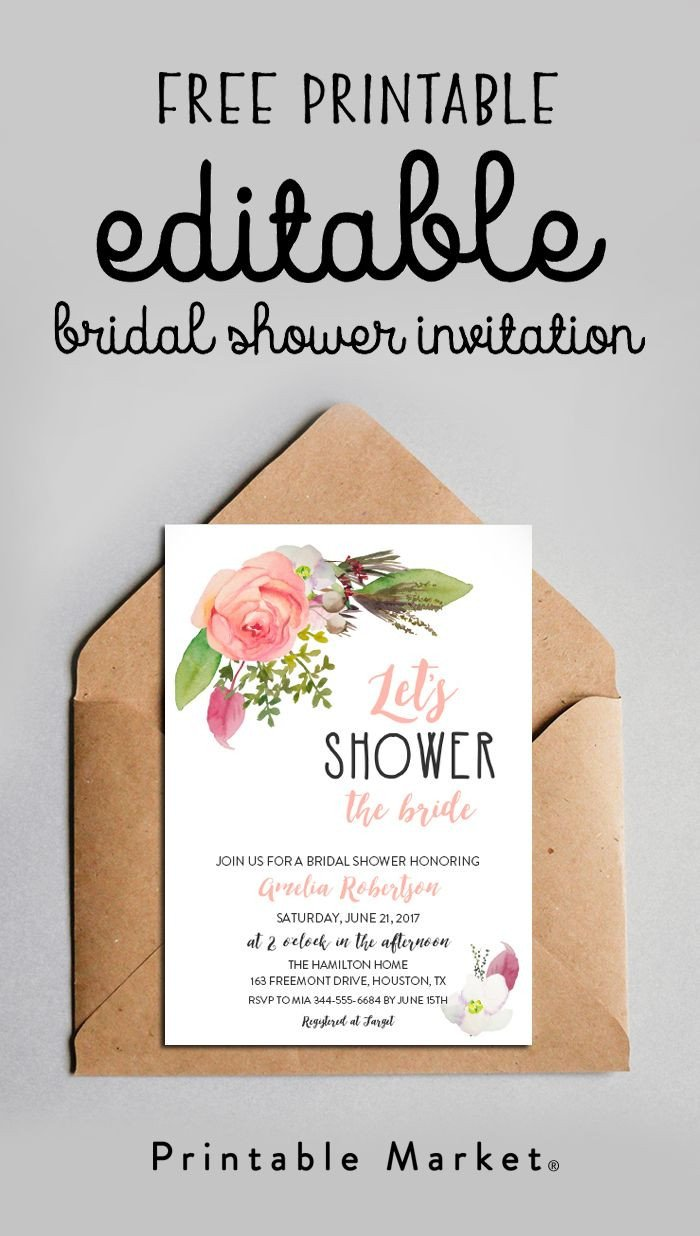 Free Bridal Shower Templates Free Editable Bridal Shower Invitation Watercolor Flowers