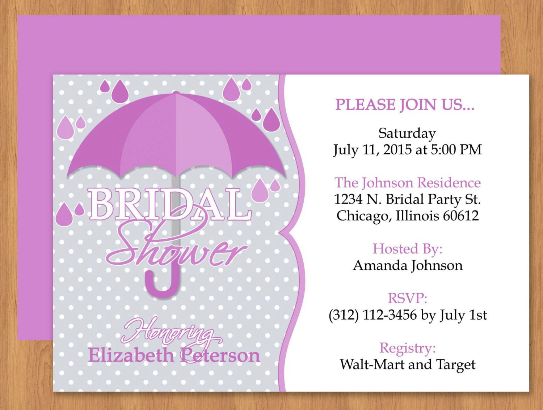 Free Bridal Shower Templates Purple Umbrella Bridal Shower Invitation Editable Template
