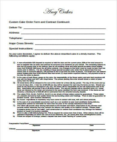 Free Cake Contract Template 7 Cake order form Sample 7 Examples In Word Pdf