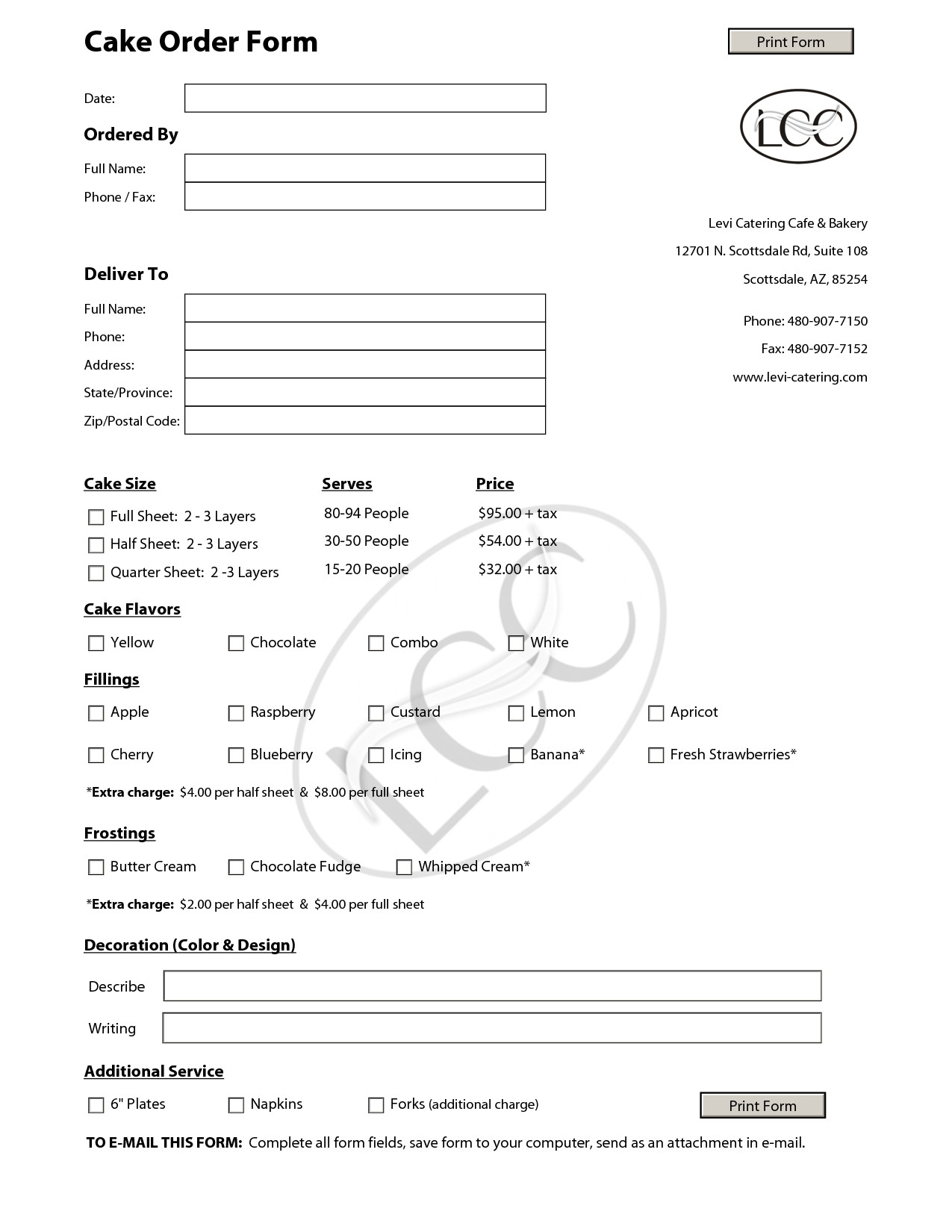 Free Cake Contract Template Cake order forms On Pinterest