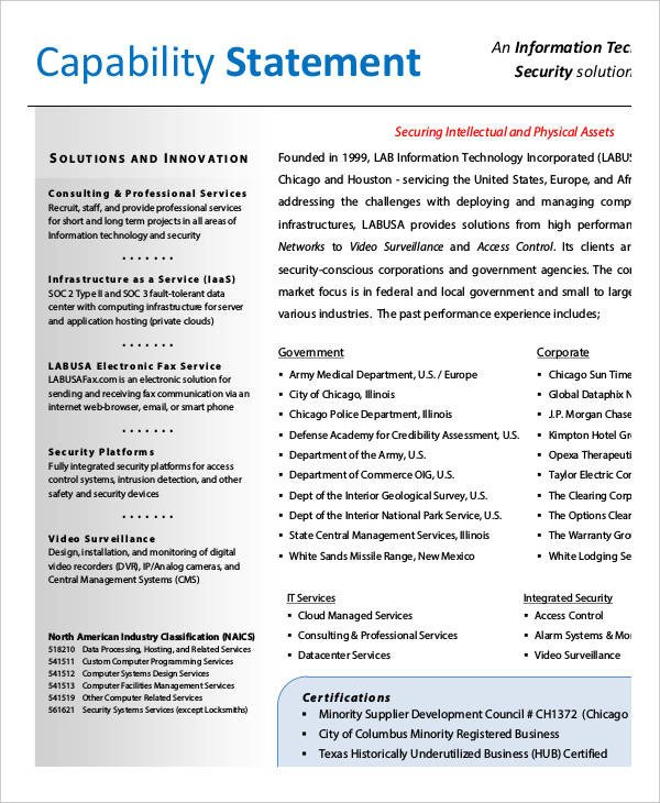 Free Capability Statement Template Word 12 Capability Statement Template Word Pdf Google Docs