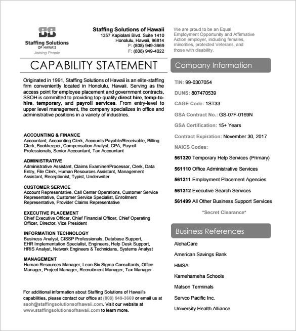 Free Capability Statement Template Word 14 Capability Statement Templates Pdf Word Pages