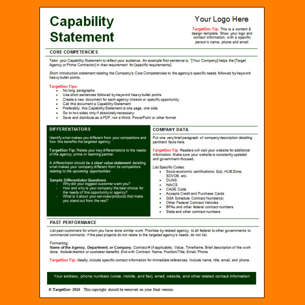 Free Capability Statement Template Word 5 Capability Statement Template Word