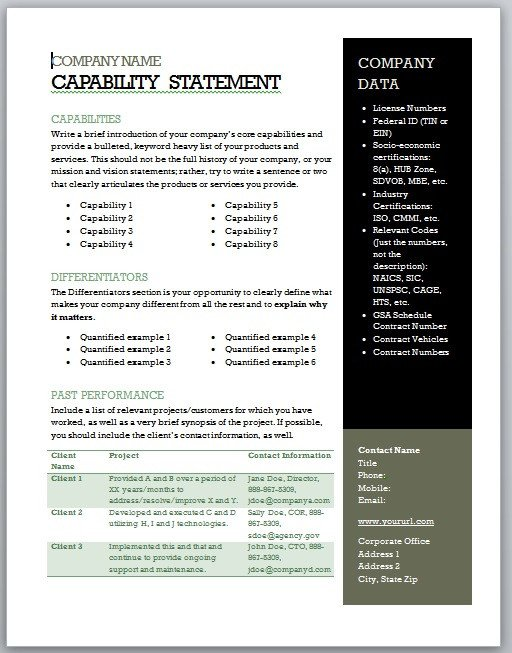 Free Capability Statement Template Word Get Started Quickly