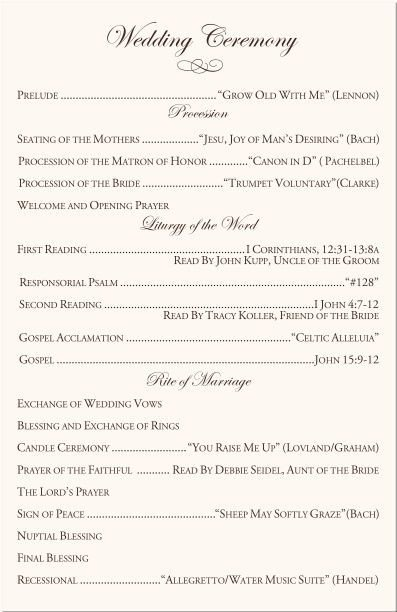 Free Catholic Wedding Ceremony Program Template Catholic Wedding Ceremony Program Template I Like the You