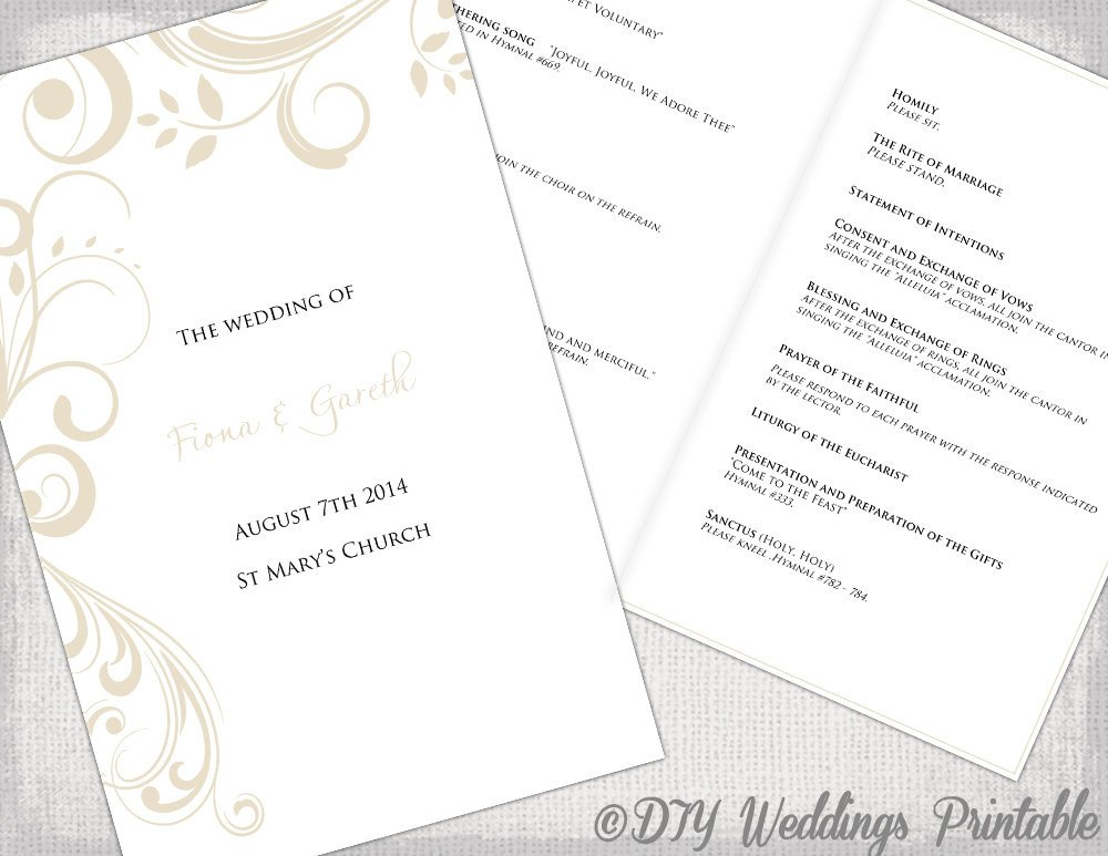 Free Catholic Wedding Ceremony Program Template Catholic Wedding Program Template by Diyweddingsprintable
