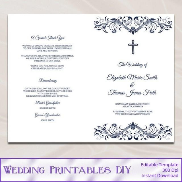 Free Catholic Wedding Ceremony Program Template Catholic Wedding Program Template Diy Navy Blue Cross