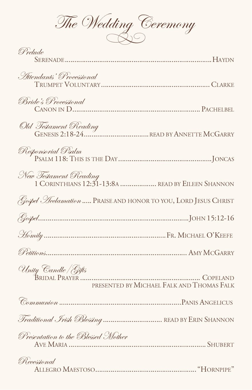 Free Catholic Wedding Ceremony Program Template Clarnette S Blog Wedding Reception Table Ideas the Main