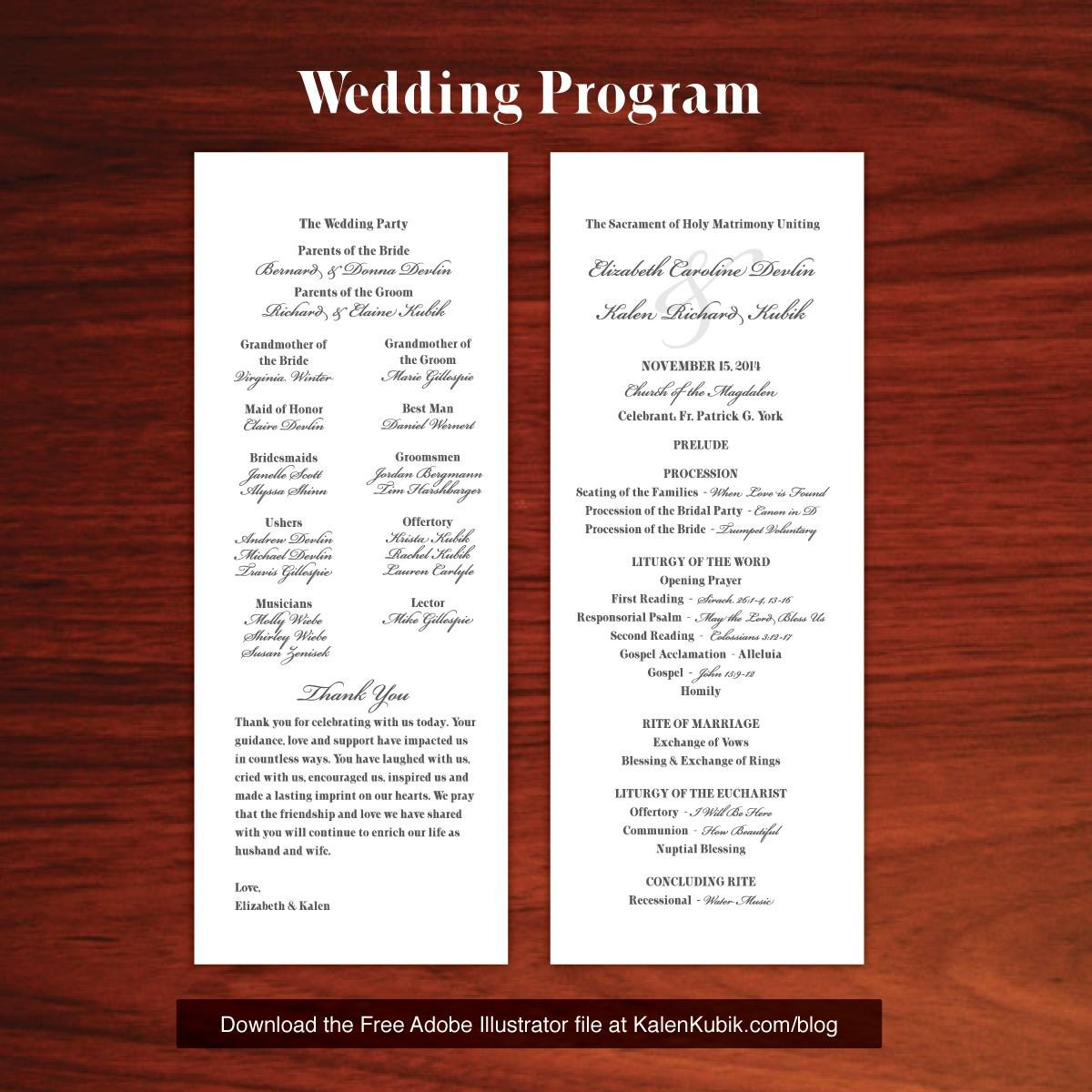 Free Catholic Wedding Ceremony Program Template Free Diy Catholic Wedding Program Ai Template I M A