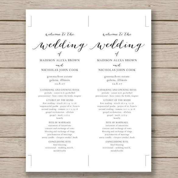 Free Catholic Wedding Ceremony Program Template Wedding Program Template – 41 Free Word Pdf Psd