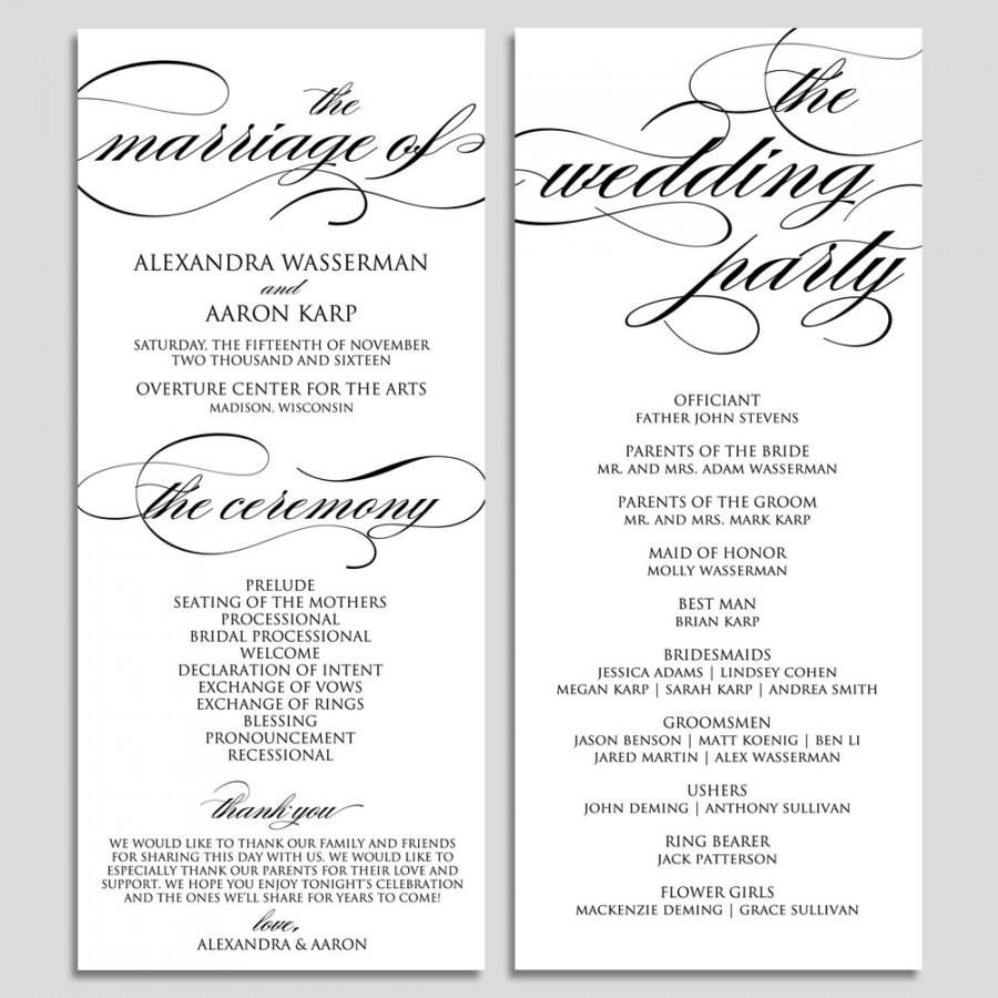 Free Catholic Wedding Ceremony Program Template Wedding Program Template Wedding Program Printable