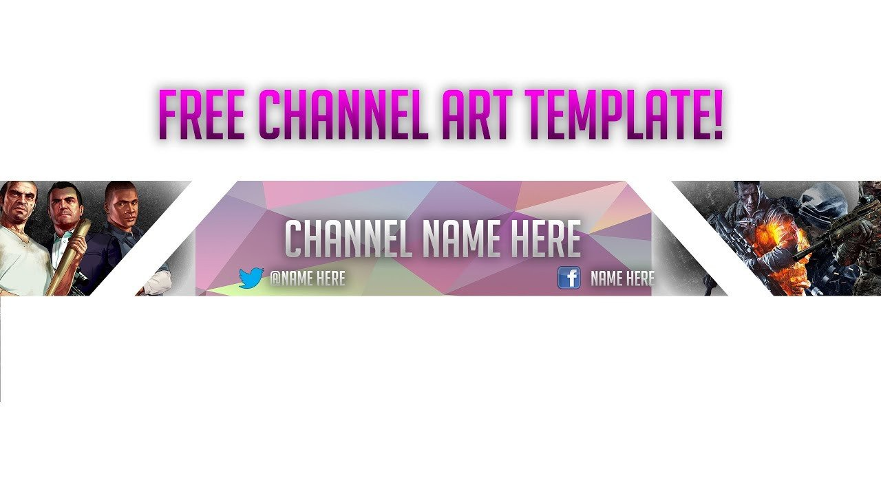 Free Channel Art Template Free Channel Art Banner Template Gaming Channel Art