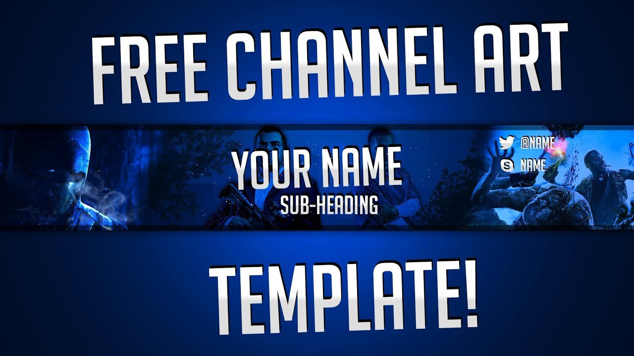 Free Channel Art Template Free Gaming Channel Art Banner Template by Ryzeus
