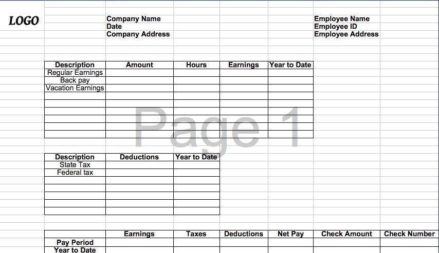 Free Check Stub Template 25 Great Pay Stub Paycheck Stub Templates
