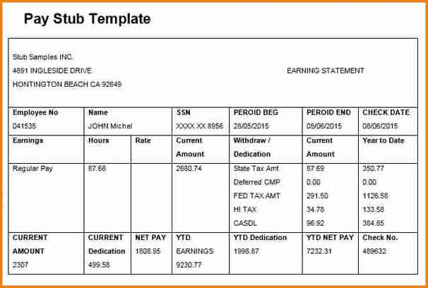 Free Check Stub Template 6 Free Editable Pay Stub Template