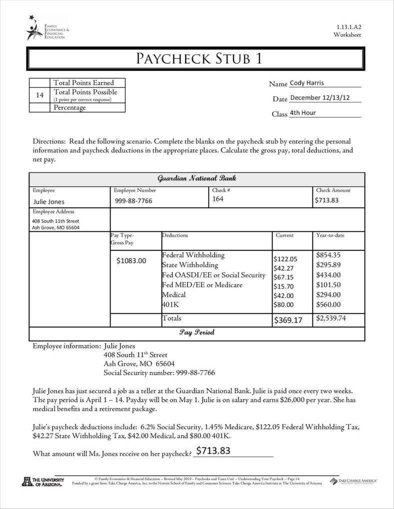 Free Check Stub Template 9 Free Pay Stub Templates Word Pdf Excel format