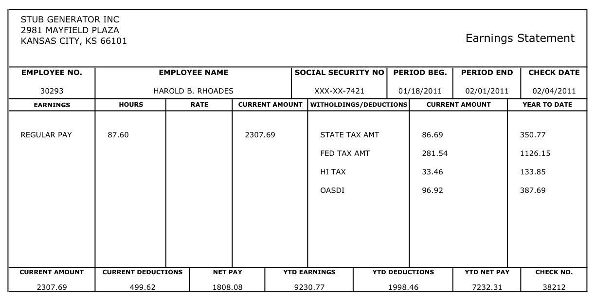 Free Check Stub Template Free Printable Blank Paycheck Stubs