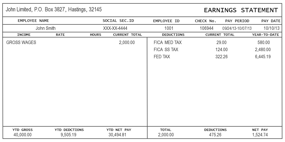 Free Check Stub Template Sample Of Pay Stub Information